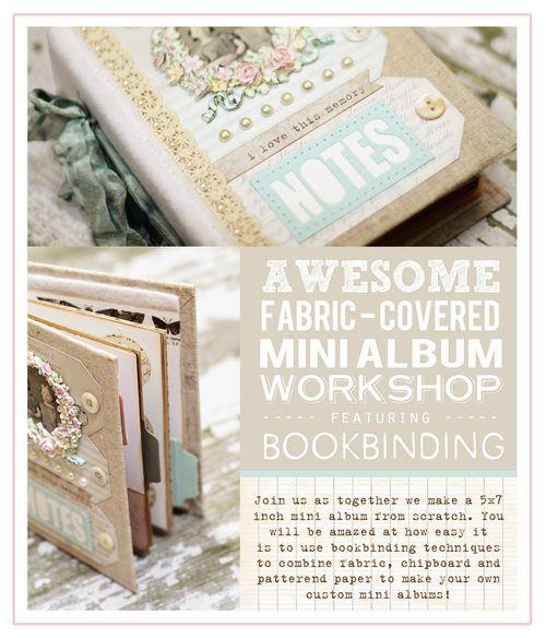 Fabric covered mini album workshop bookbinding album for melissa