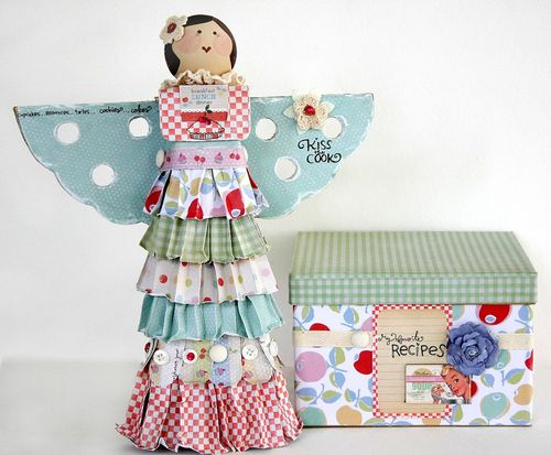 Kitschy Kitchen recipe box and angel