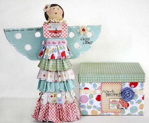 Kitschy Kitchen recipe box and angel